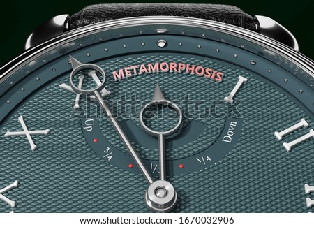 Achieve Metamorphosis, come close to Metamorphosis or make it nearer or reach sooner - a watch symbolizing short time between now and Metamorphosis., 3d illustration