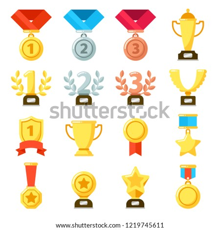 Achievement award, achiever trophy, achievements ribbon medal star icon. Gold, silver, bronze medals bowl winner cup of success  flat isolated icons set
