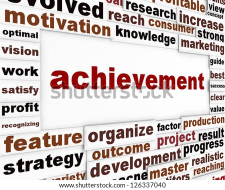 Achievement conceptual poster design. Management strategy creative words background