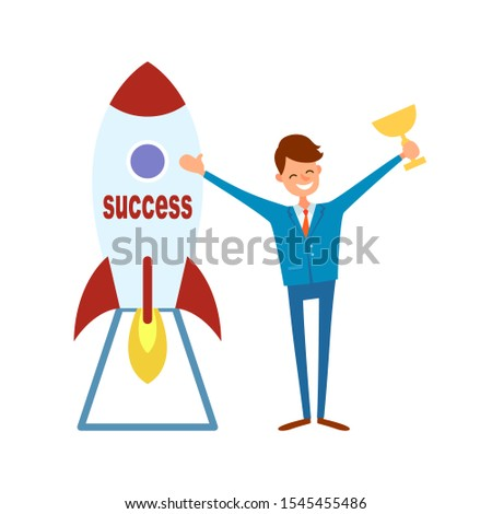Achieving success, happy businessman with trophy cup and rocket ready to start with burning fire. Achievement of best results in career concept, raster