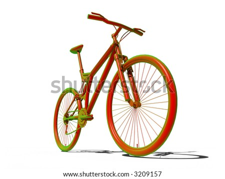 acid Mountain bike over the white background - stock photo