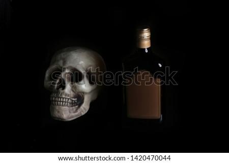 acohol, alco, alcoholic, alcoholism, rum, whiskey,, addict, addiction, unhealthy, health, skull, skeleton, death, medical, medicine, doping, horror, danger, bad, hell, dead, fear, drug addition,  #1420470044