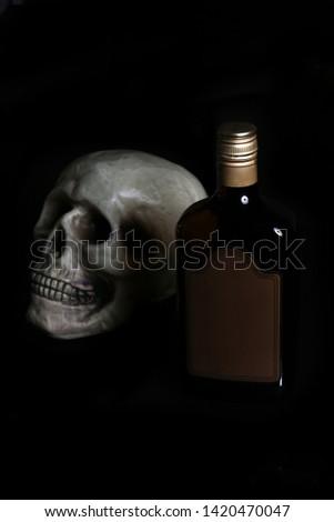 acohol, alco, alcoholic, alcoholism, rum, whiskey,, addict, addiction, unhealthy, health, skull, skeleton, death, medical, medicine, doping, horror, danger, bad, hell, dead, fear, drug addition,  #1420470047