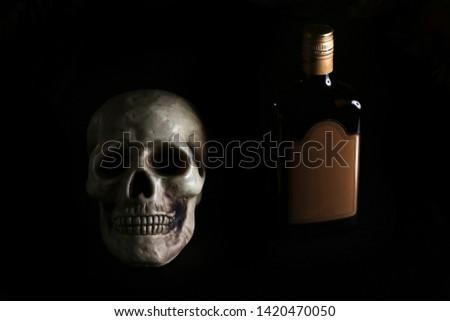 acohol, alco, alcoholic, alcoholism, rum, whiskey,, addict, addiction, unhealthy, health, skull, skeleton, death, medical, medicine, doping, horror, danger, bad, hell, dead, fear, drug addition,  #1420470050