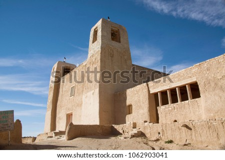 Acoma Pueblo church San Esteban Del Rey is a historic adobe Catholic Church within Acoma Pueblo or Sky City, New Mexico, USA