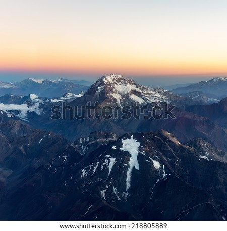 Aconcagua (6962 m) is the highest mountain in the Americas (aerial photo) on Chile to Argentina border, Latin America