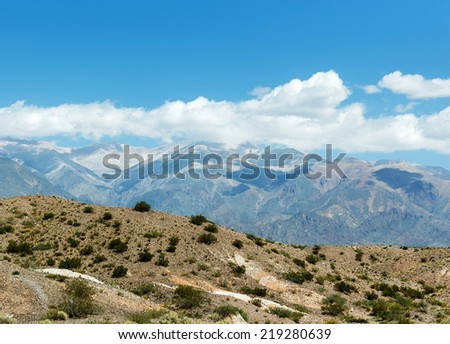 Aconcagua National Park. Aconcagua (6962 m) is the highest mountain in the Americas - Andes, Argentina, Latin America