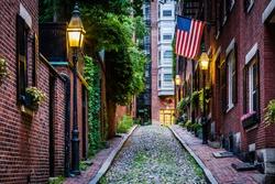 Acorn Street, in Beacon Hill, Boston Massachusetts.