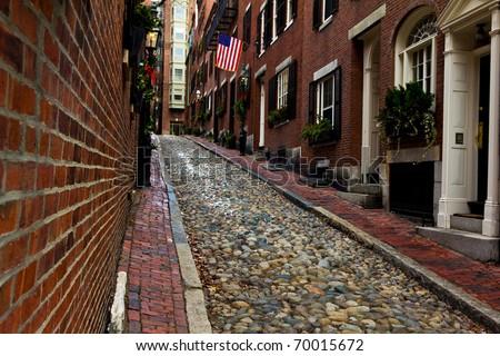 Acorn Street in Boston, Massachusetts.