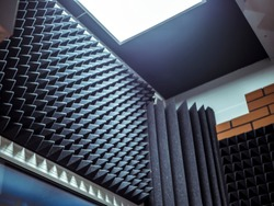 acoustic foam on the wall in the music studio