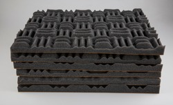 Acoustic foam or tiles for sound dampening. Music room. Soundproof room. Maze profile acoustic foam.