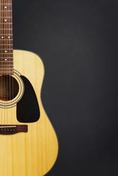 Acoustic guitar against bank chalkboard background