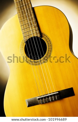 Acoustic guitar classical musical instrument close-up