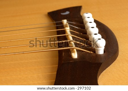 Acoustic Guitar close up of bridge