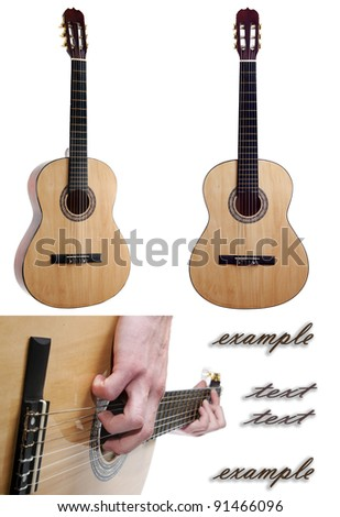 Acoustic guitar.  Hands while playing the guitar.    isolated.