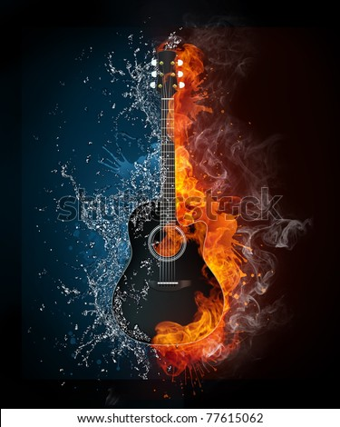 Acoustic guitar in fire and water. Illustration of the acoustic guitar in elements isolated on black background. High resolution acoustic guitar in fire and water image for a guitar concert poster.