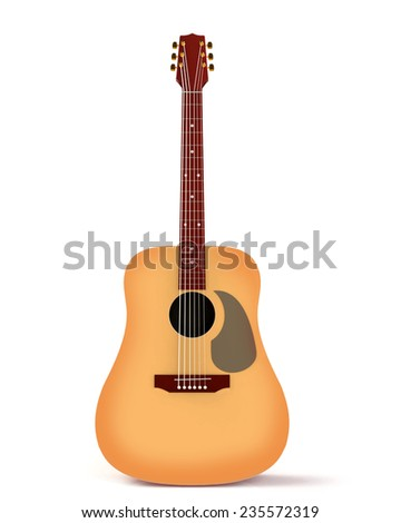 Acoustic Guitar Isolated On White Background Ez Canvas