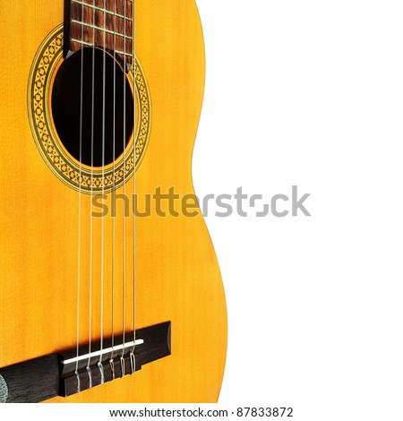 Acoustic guitar isolated white background. Musical instrument string details close-up