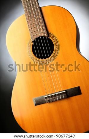 Acoustic guitar musical art instrument close-up