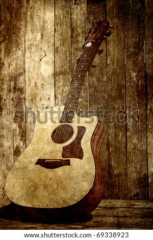 Acoustic guitar on a rustic wood backdrop, grunge textured.