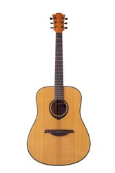 Acoustic guitar on a white background