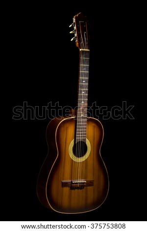 Acoustic Guitar On Black Background Ez Canvas