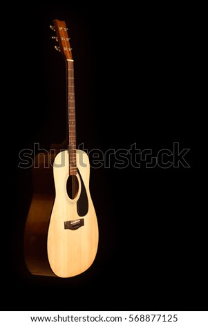 Acoustic Guitar On Black Background With Copy Space Ez Canvas