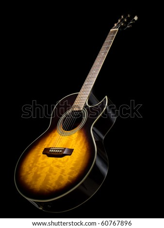 acoustic guitar over black background, useful for various music related themes