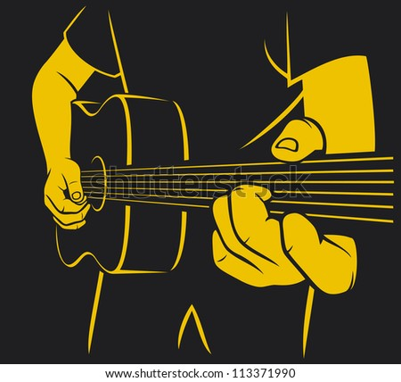 acoustic guitar playing (man plays a guitar, playing acoustic guitar, musical poster design, music design)