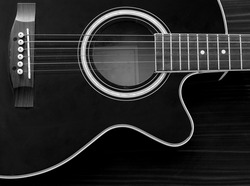 Acoustic Guitar with strings in Black & White