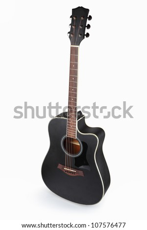 acoustic guitar with white background
