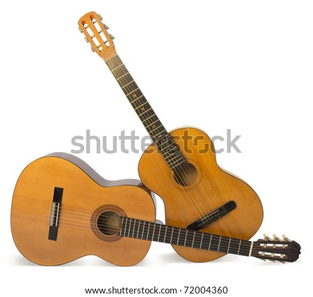 acoustic guitars isolated on the white background