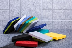Acoustic panels made of polyester in different colors
