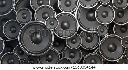 Acoustic sound speakers background. Black subwoofers of different size. Multimedia, audio and sound concept. 3d illustration Сток-фото ©