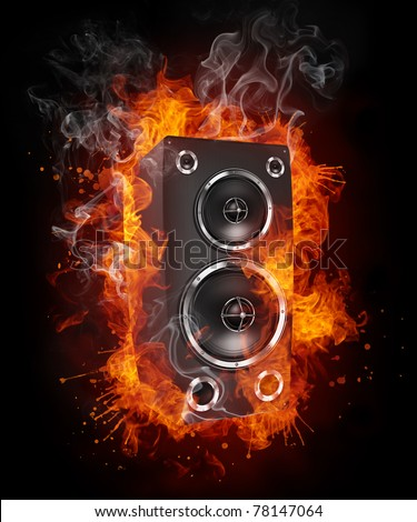Acoustic speaker in fire. Illustration of the speaker enveloped in flames isolated on black background. High resolution speaker in fire image for a DJ party poster or banner.