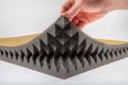 Acoustic sponge - Acoustic foam - fire retardant Pyramid Sponge. 15 dansite, Pyramid Sponge acoustic foam Background.