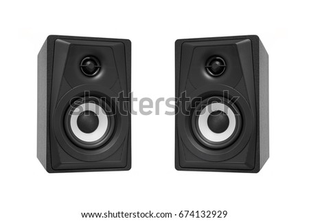 acoustic system on white isolated background.