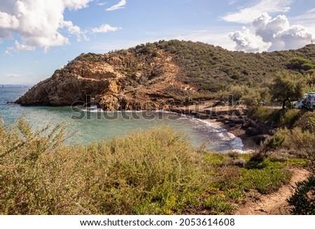 Acquaviva beach, a little natural bay with camping area near Portoferraio, Isola D' Elba (Elba Island), Tuscany (Toscana), Italy Foto stock ©