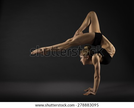 Acrobat Performer, Circus Woman Hand Stand, Gymnastics Back Bend Pose