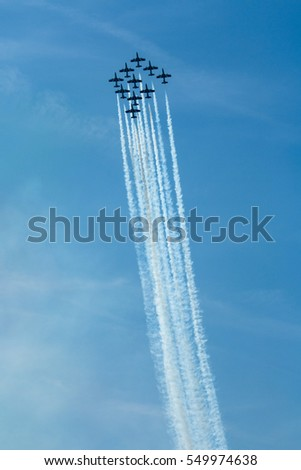 Acrobatic air performance of Free ce tricolor on Slovak international air force day  Airshow Slovakia Italian aircraft, fighters