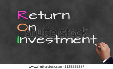 Acronym and coprate sayings on chalkboard - 'R.O.I'  Return On Investment Stock fotó ©