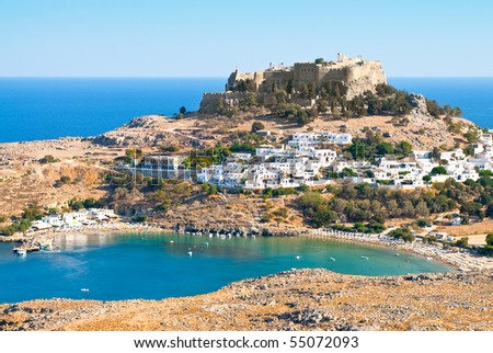 Acropolis in the ancient greek town Lindos, Rhodes island, Greece