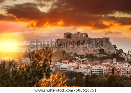 Acropolis with Parthenon temple against sunset in Athens,  Greece #588616751
