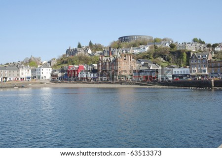 across the harbour to McCaigs Folly at Oban in the West Highlands