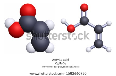 Acrylic acid is monomer for polymer synthesis and a precursor to other monomers. Shown here as a 3D illustration of space-filling and ball-and-stick molecular models.