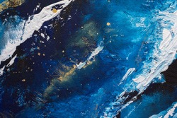 Acrylic blue background. Abstract painting for banner, website, texture for design. Oil dark background with stars, sea or sky. Paint splashes on canvas texture. Acrylic modern trendy painting.