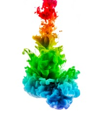 acrylic color paint in water. the explosion of color on a white background