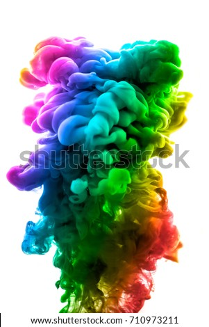 Acrylic colors and ink in water. Abstract frame background. Isolated on white. - Shutterstock ID 710973211