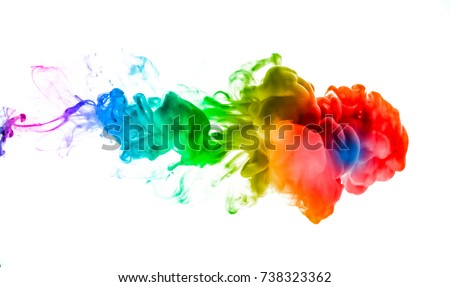Stock Photo Acrylic colors and ink in water. Abstract frame background. Isolated on white.