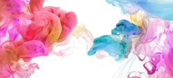 Acrylic colors and ink in water. Ink blot. Abstract background. Horizontal banner.